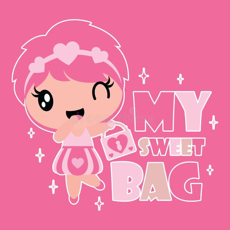 Śliczna dziewczyna przynosi słodkiej torbie wektorową kreskówki ilustrację dla dzieciak koszulki tła projekta royalty ilustracja