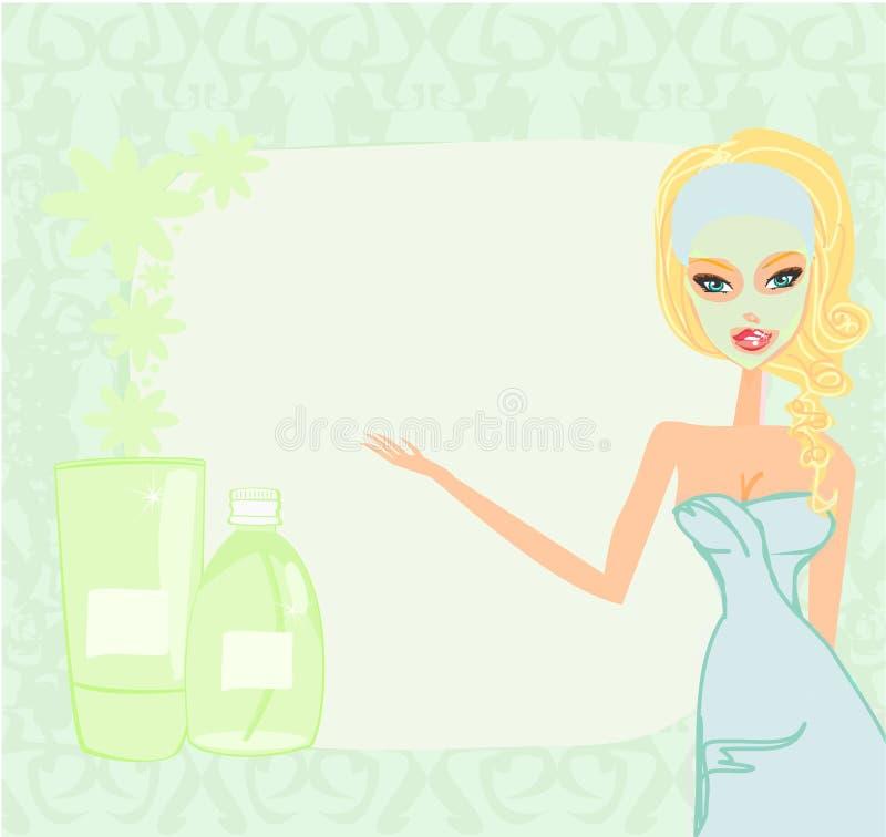 Śliczna dziewczyna stosuje moisturizer ilustracji