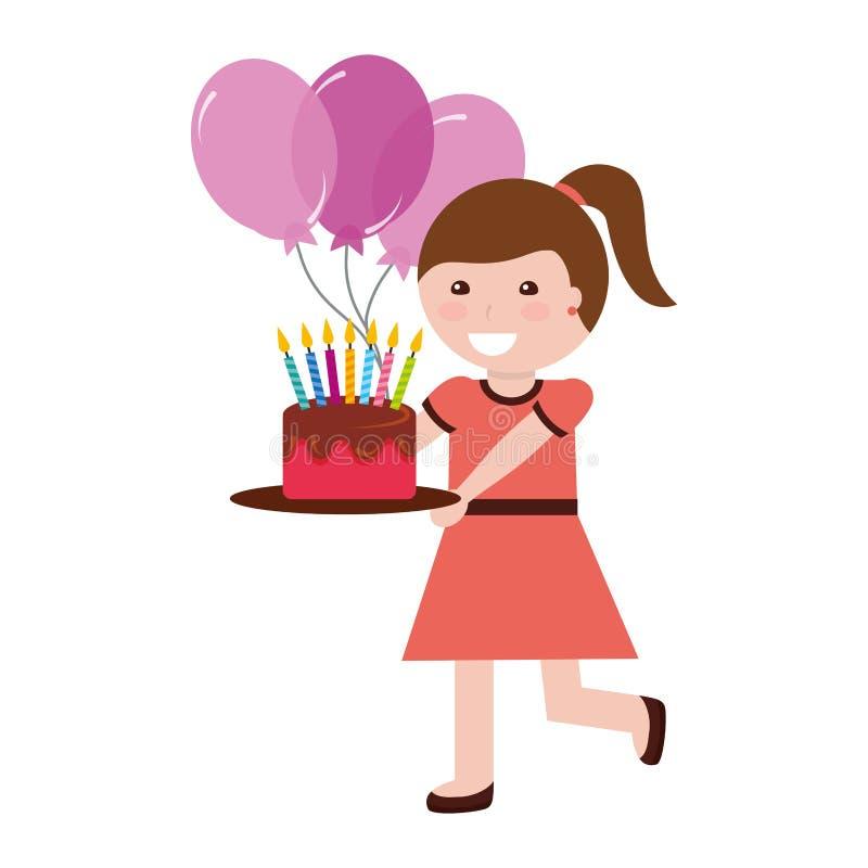 ?liczna dziewczyna trzyma urodzinowego tort z ?wieczkami i balonami ilustracji