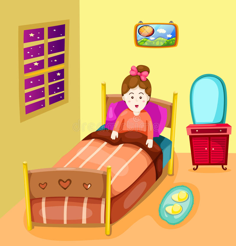 Śliczna dziewczyna w łóżkowym pokoju ilustracji