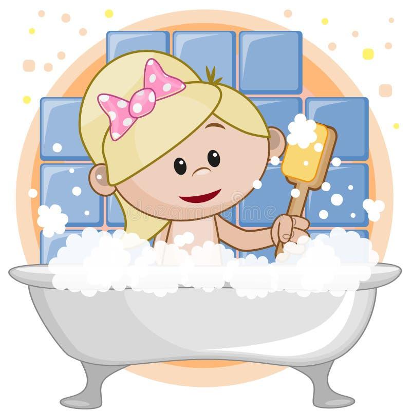 Śliczna dziewczyna w łazience royalty ilustracja