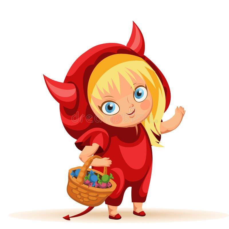 Śliczna dziewczyna w Halloween ubiera płaskiego plakat ilustracja wektor