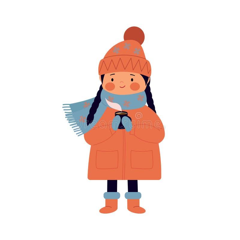 Śliczna dziewczyna w kapeluszu, żakiet, mitynki trzyma kubek kawa Dziecko w zimie pije gorącą kawę, herbata ilustracja wektor