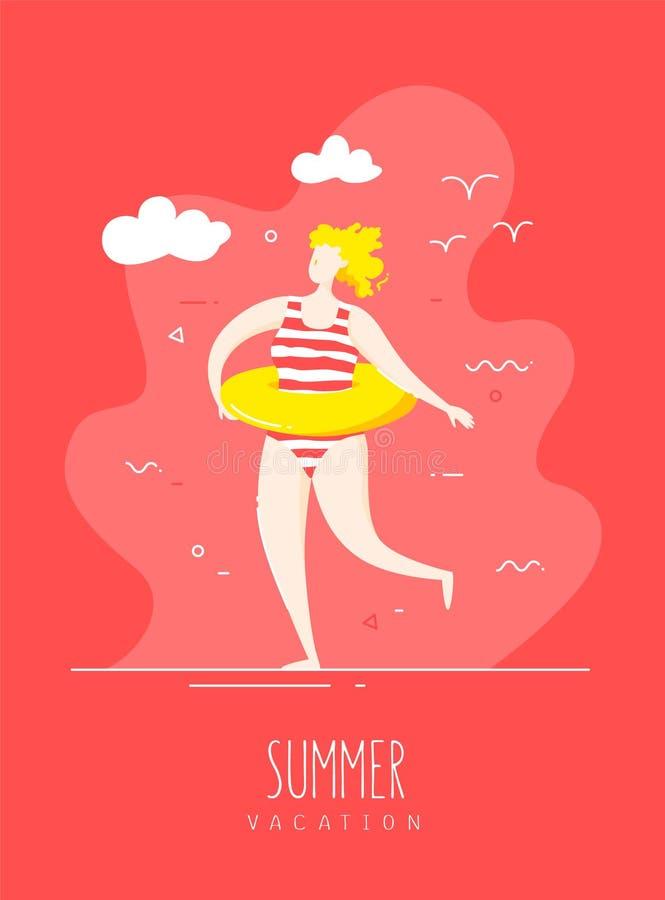 Śliczna dziewczyna w pasiastym swimsuit z pływackim okręgiem chodzi na plaży t?a karciany prelambulator paskuj?cy wektor royalty ilustracja