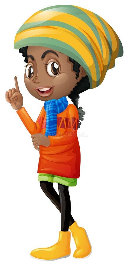 Śliczna dziewczyna w pomarańczowym sweather ilustracja wektor