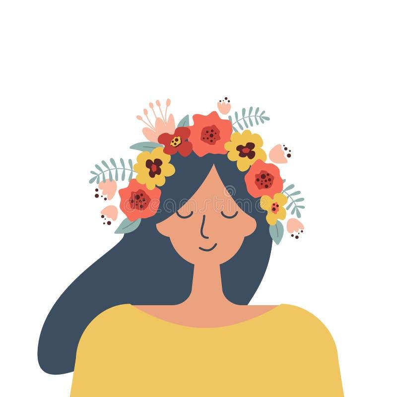 Śliczna dziewczyna w wianku kwiaty i liście Portret ilustracja wektor
