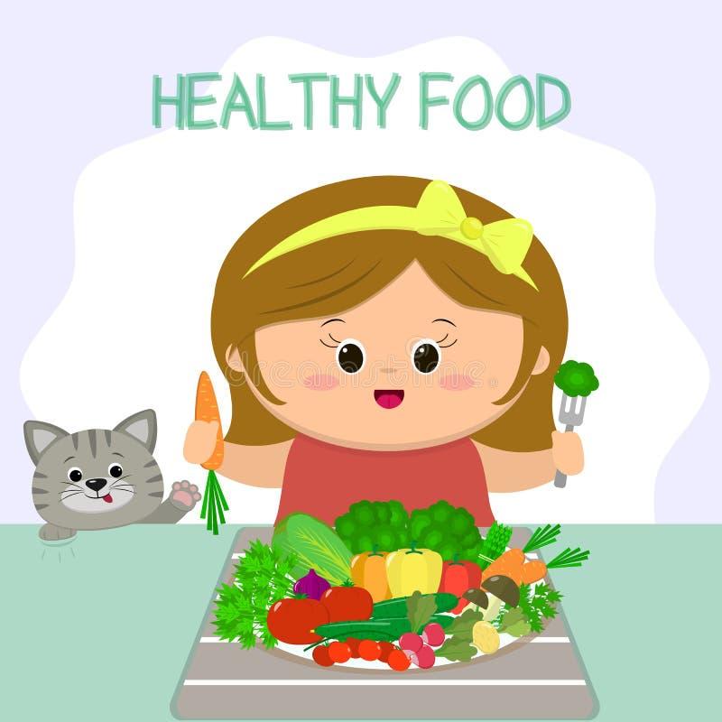 Śliczna dziewczyna z żółtym łękiem przy stołem, talerz z warzywami kot jest przyglądający Zdrowy jedzenie, organicznie produkty ilustracja wektor