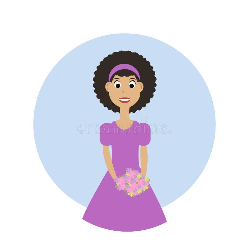 Śliczna dziewczyna z bukietem kwiaty Szczęśliwy dziecko z wiązką kwiaty royalty ilustracja