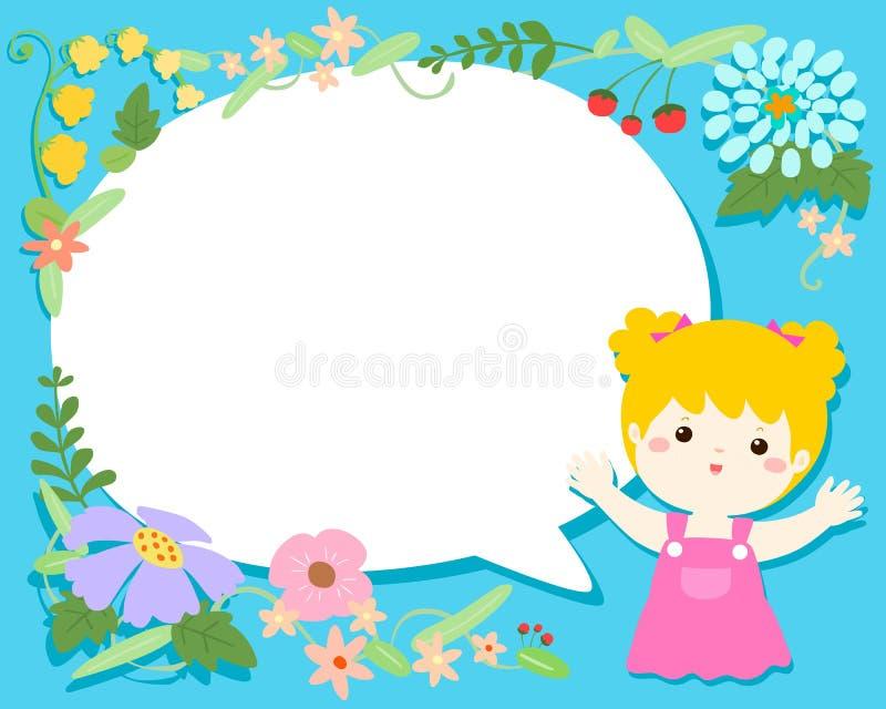 Śliczna dziewczyna z pustym mowy bubbleflower ilustraci backgroun ilustracji