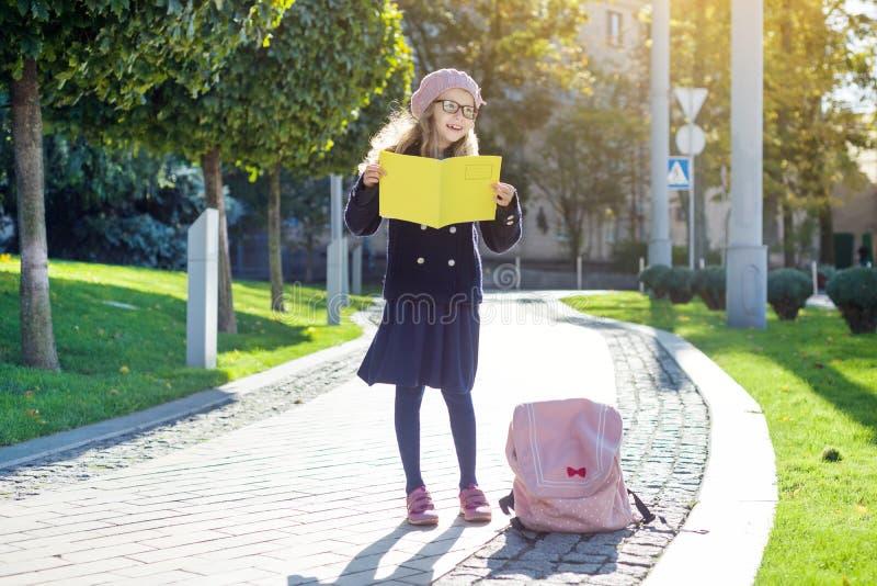 Śliczna dziewczyna z szkłami, żakiet, francuscy beretów spojrzenia w notatniku zdjęcia stock