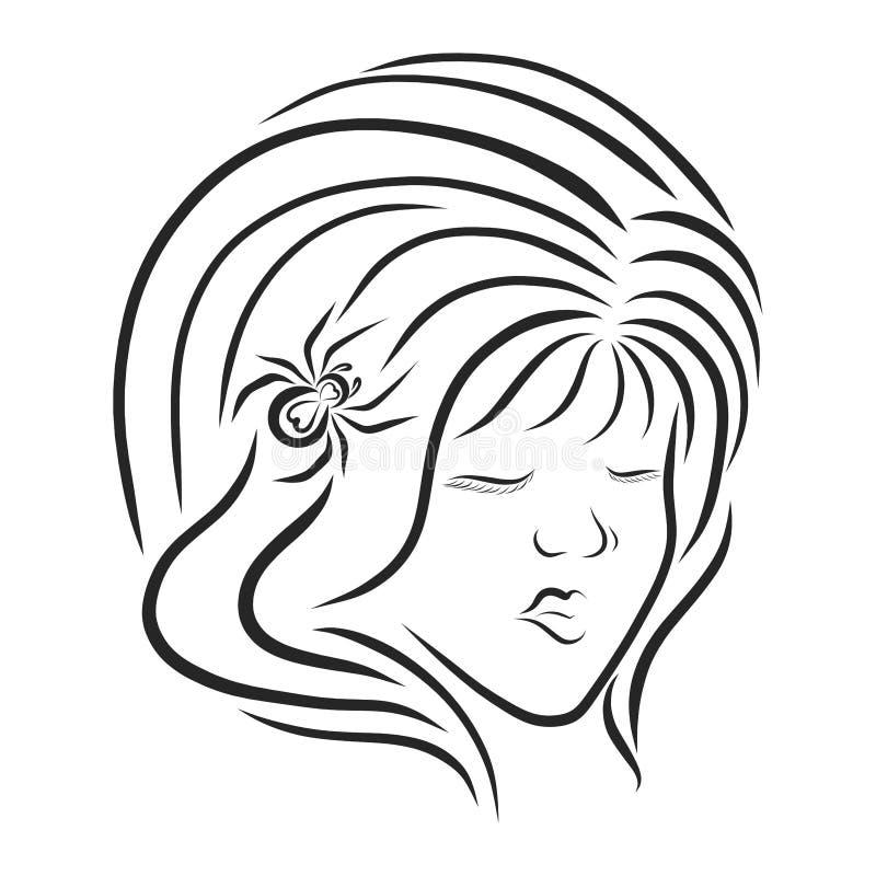Śliczna dziewczyna z wspaniałą fryzurą i pająk w włosy, głowa ilustracja wektor