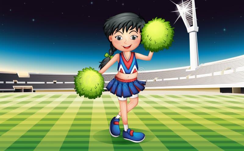 Śliczna dziewczyna z zielonymi pomponami royalty ilustracja