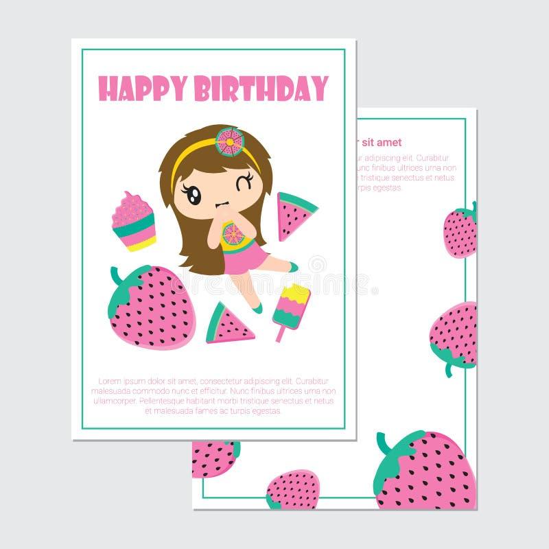 Śliczna dziewczyny i lato owoc kreskówki wektorowa ilustracja dla urodzinowej karty royalty ilustracja