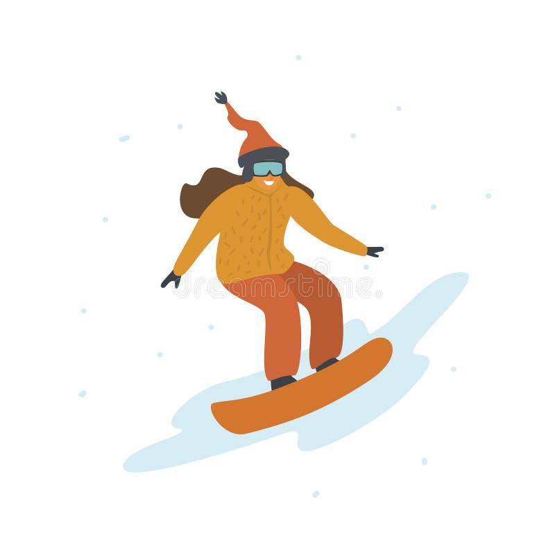 Śliczna dziewczyny jazda na snowboardzie, kreskówki zimy wektoru ilustracja royalty ilustracja