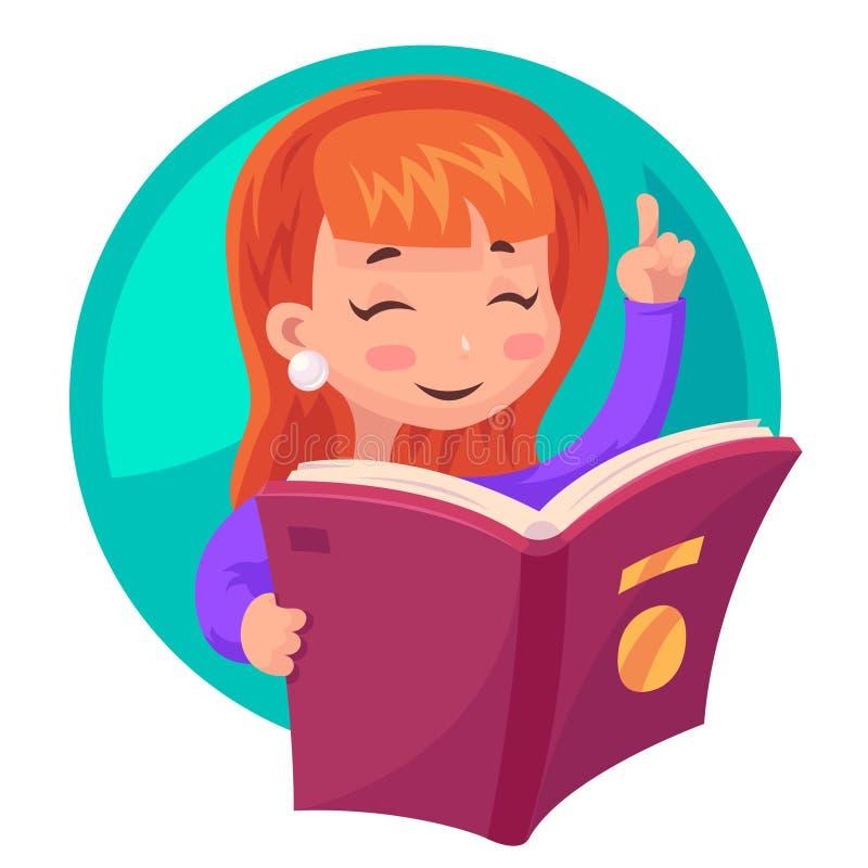 Śliczna dziewczyny maskotki charakteru czytelniczej książki edukaci kreskówki projekta wektoru ilustracja royalty ilustracja