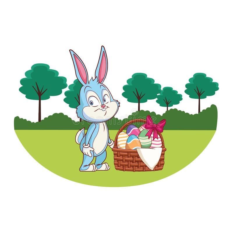 Śliczna Easter królika świętowania natury drzew tła round rama ilustracji