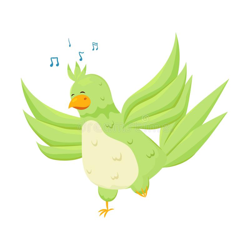 Śliczna egzot zieleni papuga śpiewa modną piosenkę ilustracja wektor