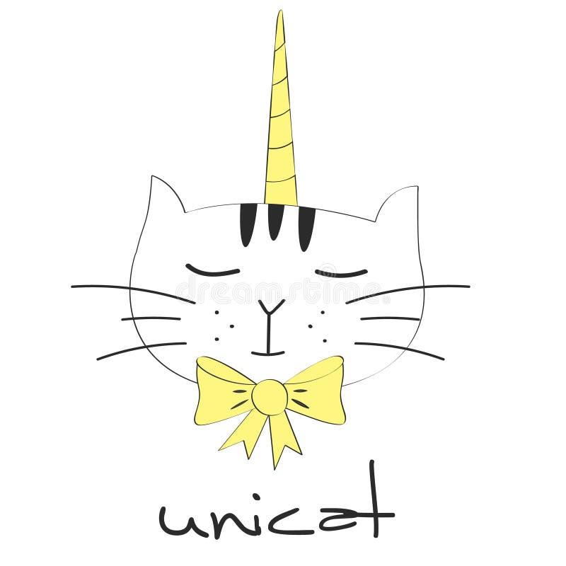 Śliczna fantazja kota jednorożec Cukierki żartuje grafika ilustracja wektor
