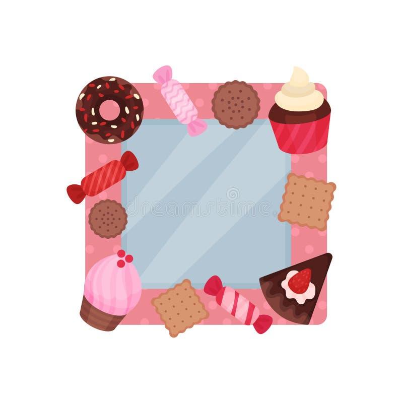 Śliczna fotografii rama z cukierkami, albumowym szablonem dla dzieciaków z przestrzenią dla fotografii lub tekstem, karta, obraze ilustracja wektor