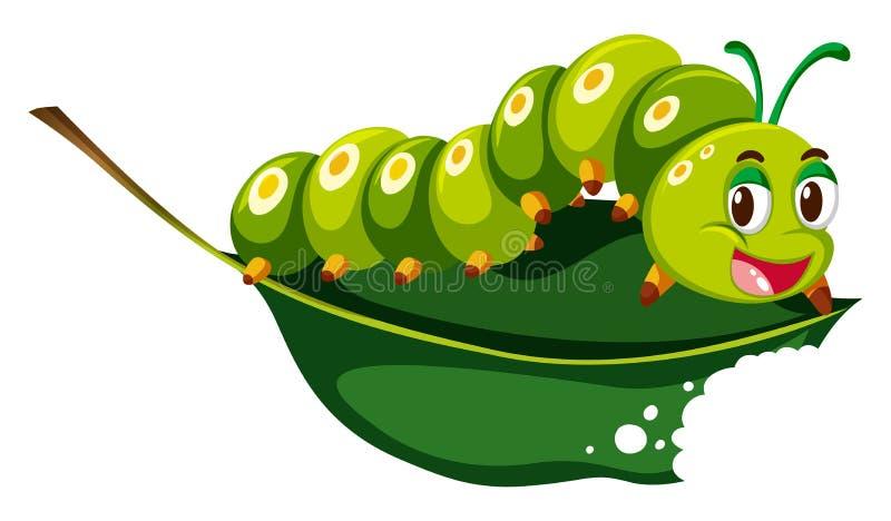 Śliczna gąsienica żuć zielonego liść royalty ilustracja