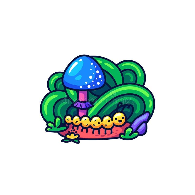 Śliczna gąsienica i pieczarka w doodle stylu royalty ilustracja