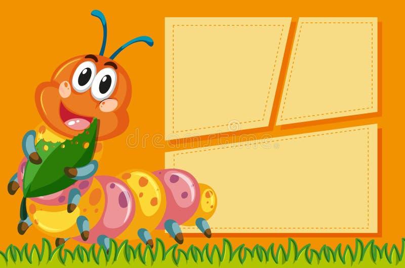 Śliczna gąsienica na puste miejsce notatce ilustracja wektor