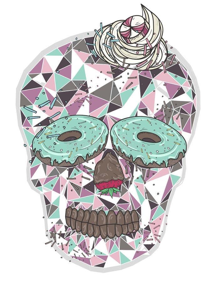 Śliczna geometryczna czaszka z cukierkami ilustracji