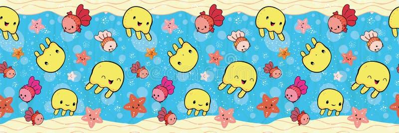 Śliczna granica z żółtą jellyfish i pomarańcze rozgwiazdą bawić się z bąblami Bezszwowy wektoru wzór na błękitnej roślinie ilustracji