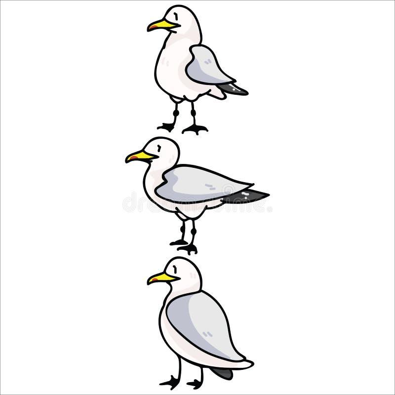 Śliczna grupa seagulls kreskówki motywu wektorowy ilustracyjny set Wręcza rysującego odosobnionego nadmorski przyrody elementów c royalty ilustracja