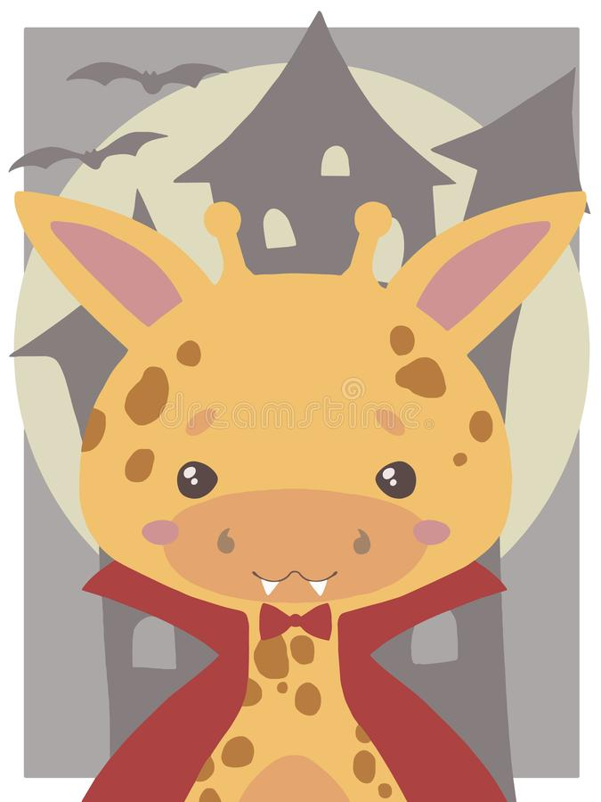 Śliczna Halloweenowa wektorowa sztuka dla dzieci, żyrafa ubierał w górę wampira z fangs i czerwonym cloa jako ilustracji