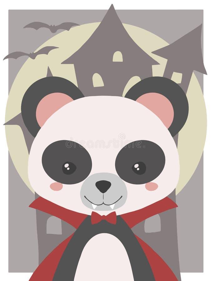 Śliczna Halloweenowa wektorowa sztuka dla dzieci, panda ubierał w górę wampira z fangs i czerwienią jako ilustracji