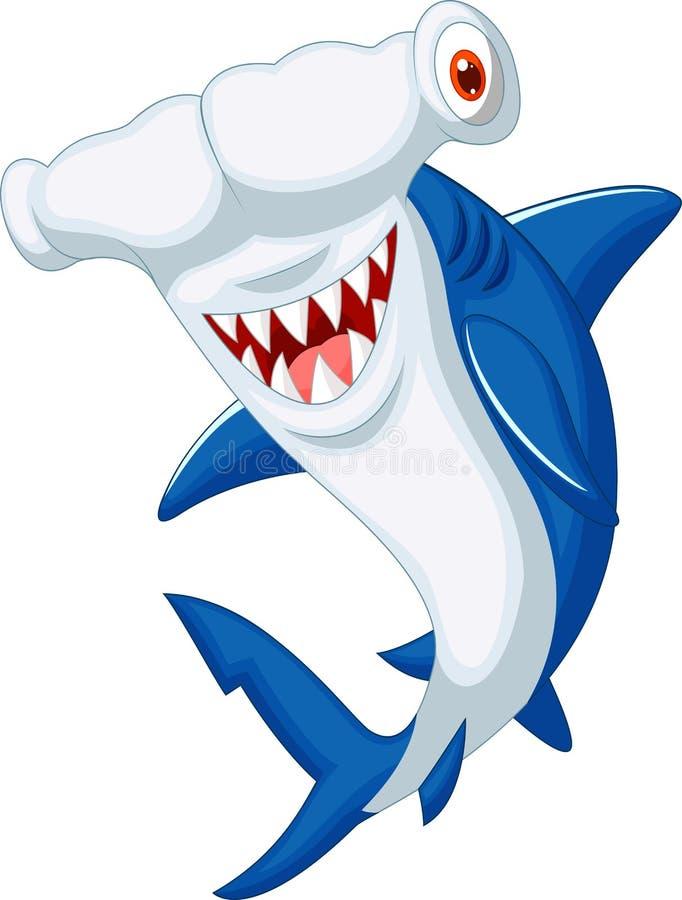Śliczna hammerhead rekinu kreskówka ilustracji