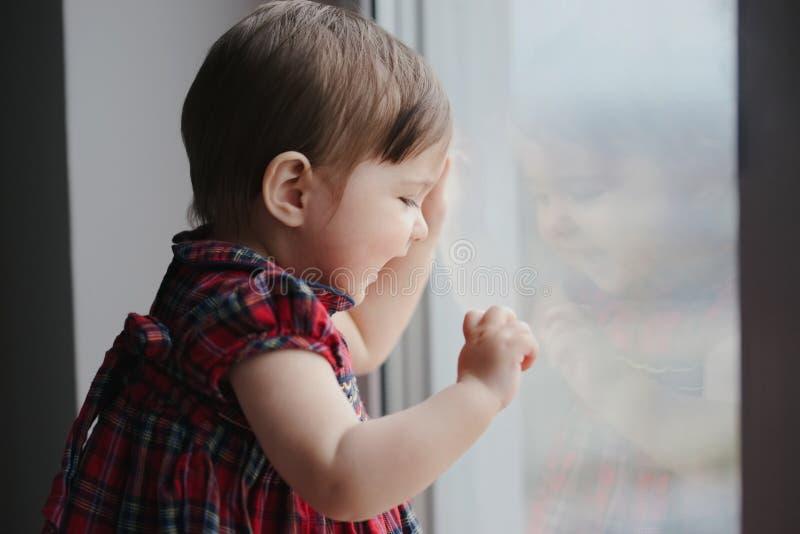 Śliczna hapy piękna dziewczyna blisko okno fotografia royalty free