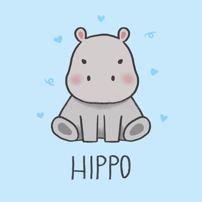 Śliczna Hipopotamowa ręka rysujący kreskówka styl ilustracji
