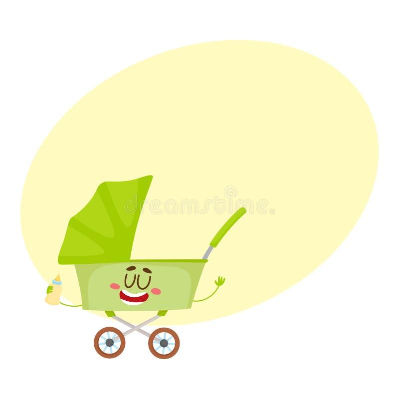 Śliczna i śmieszna dziecko fura, spacerowicz, powozik, kareciany charakter royalty ilustracja