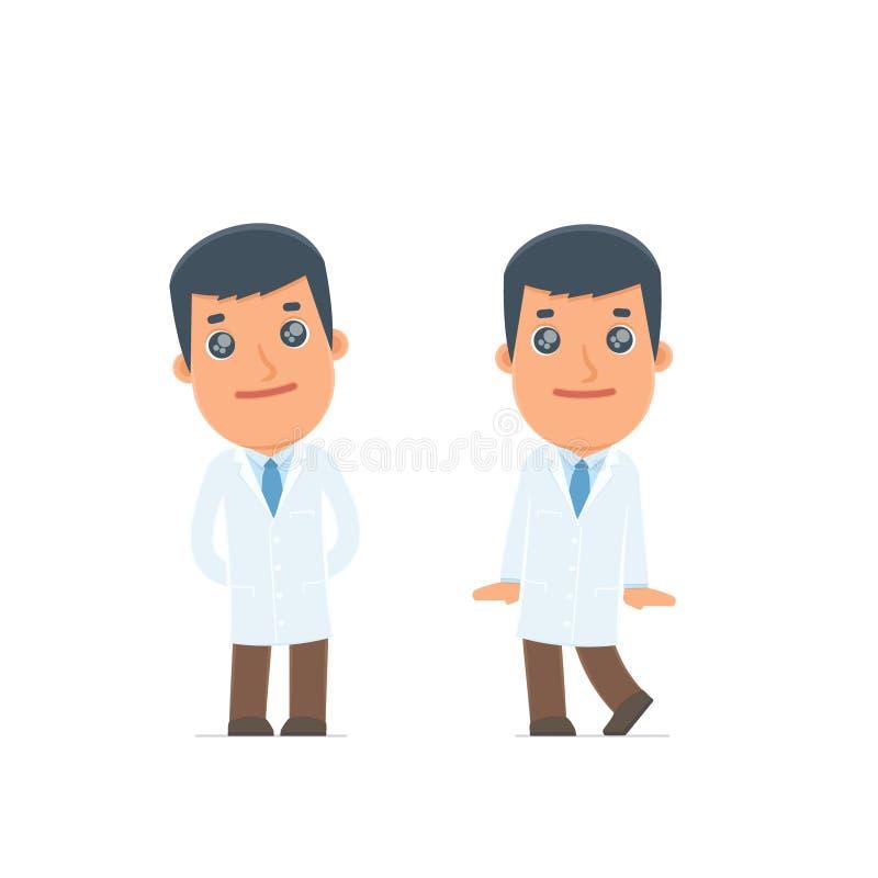 Śliczna i Czule charakter lekarka w pozach ilustracja wektor
