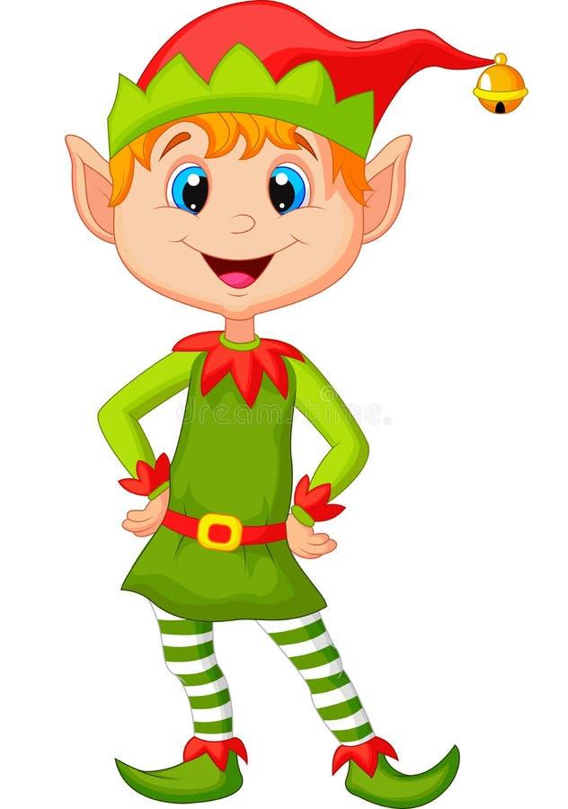 Śliczna i szczęśliwa przyglądająca boże narodzenie elfa kreskówka royalty ilustracja