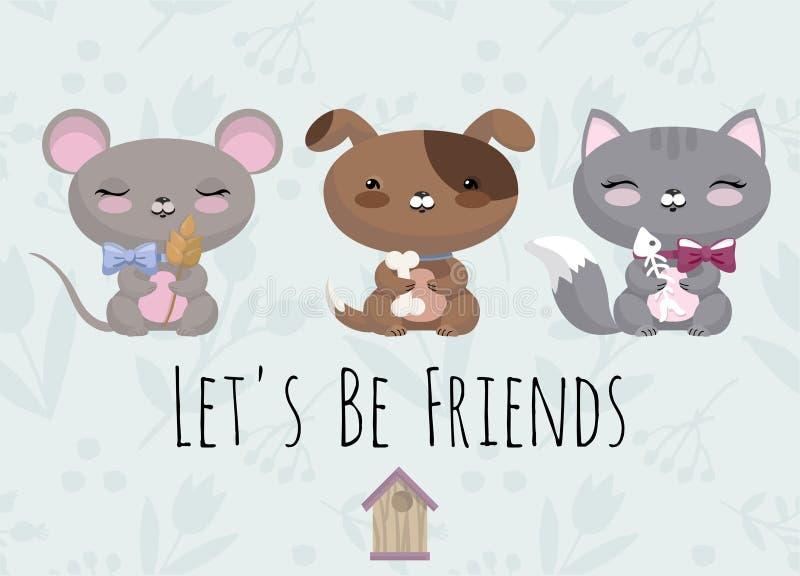 Śliczna ilustracja z dziecko myszą, pies, kot zdjęcia royalty free