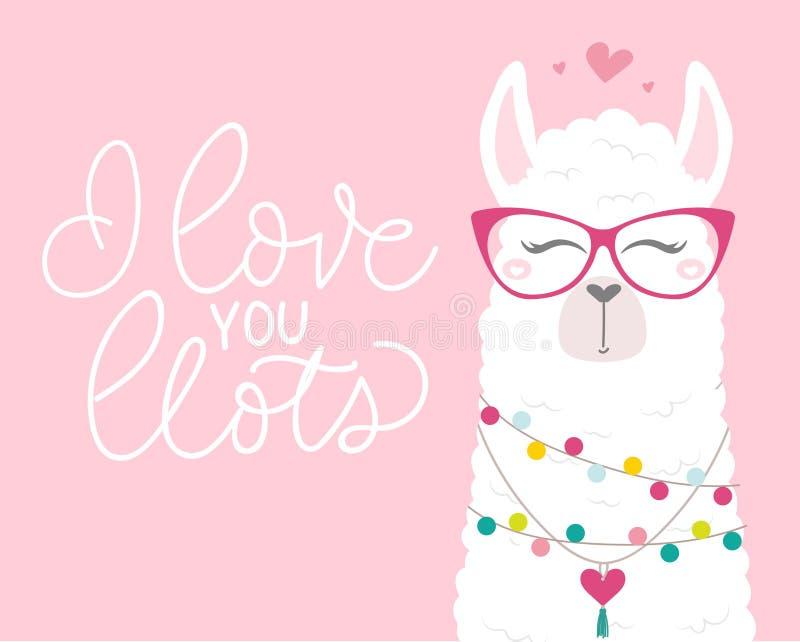 Śliczna ilustracja z lamą w miłości, doodles i literowanie inskrypcji, ilustracji