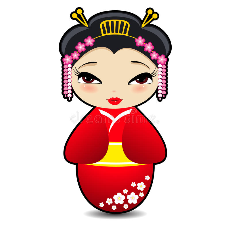 Śliczna Japońska lala ilustracja wektor