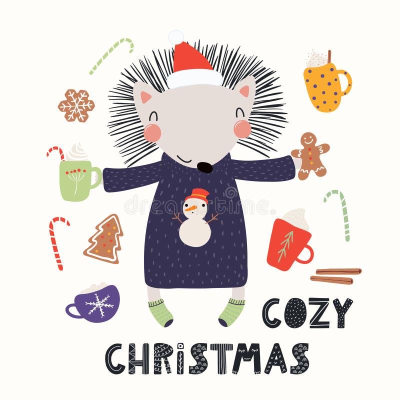 Śliczna jeż kartka bożonarodzeniowa royalty ilustracja