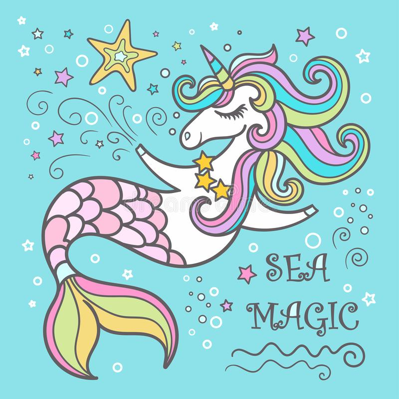 Śliczna jednorożec Dennego konia kreskówka Magiczne istoty, temat sen, fantazja, czarodziejka royalty ilustracja