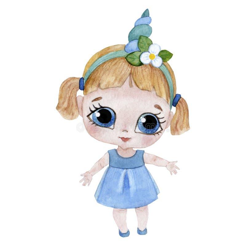 Śliczna jednorożec dziewczyna z dużymi oczami lubi troszkę dziecka royalty ilustracja