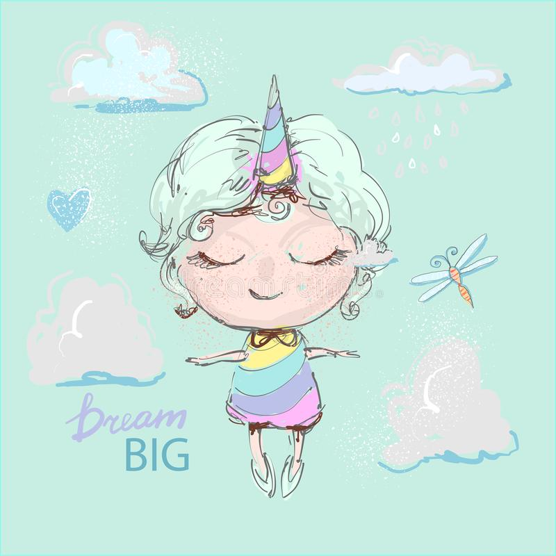 Śliczna jednorożec dziewczyny kreskówka w tęczy sukni lataniu w chmurach z dragonfly, wymarzony duży pojęcie ilustracji