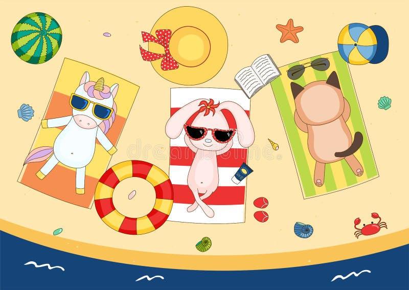 Śliczna jednorożec, królik i kot na plaży, royalty ilustracja