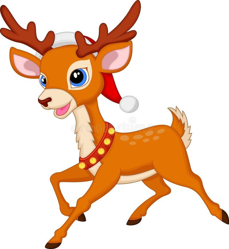 Śliczna jelenia kreskówka z czerwonym kapeluszem ilustracja wektor