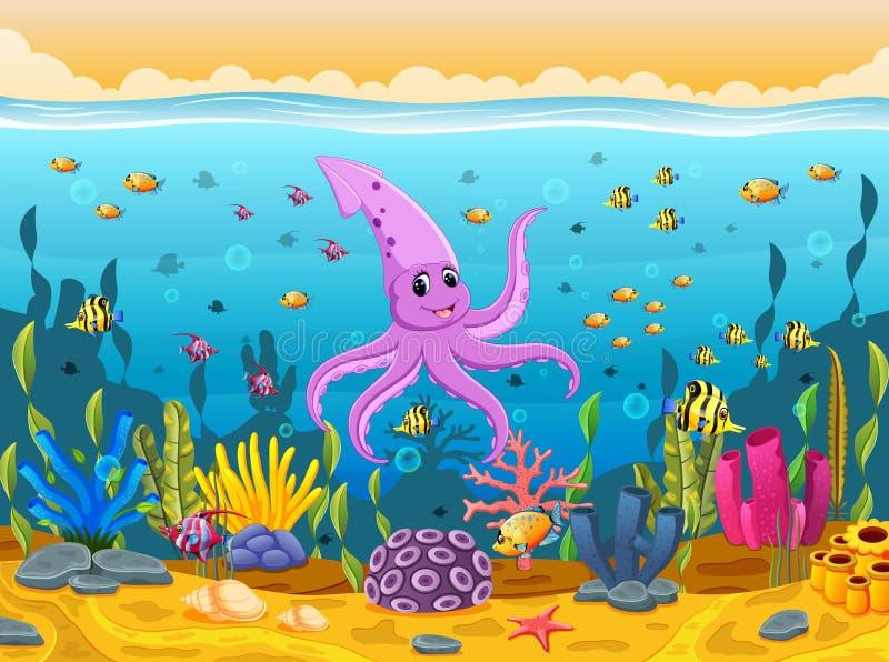 Śliczna kałamarnica pod morzem ilustracja wektor