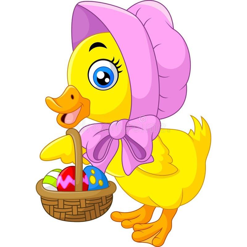 Śliczna kaczka z wiadrem jajka royalty ilustracja