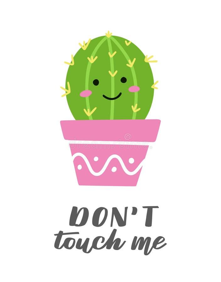 Śliczna karta z śmiesznym kaktusem ilustracji