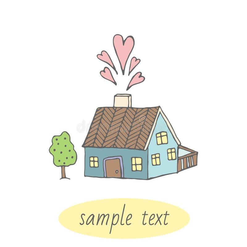 Śliczna karta z domem home sweet wektor zdjęcie stock